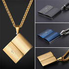 U7 Stainless Steel Book Shape Pendant Necklace Bible Text Lords Prayer Jewelry