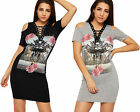 Womens Eyelet Tie Rose Print Mini Dress Top Ladies Cut Out Cold Shoulder Print