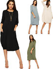 Womens Baggy Necklace Dress Top Ladies Long Sleeve Pocket Oversized Plain 8-14