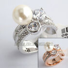 A1-R3145 White Pearl Solitaire Ring 18KGP Rhinestone Crystal Size 6.5,8,9