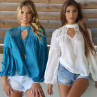 Womens Ladies Long Sleeve Shirt Casual Lace Blouse Ladies Cotton Tops T-Shirt