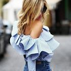 Womens One Off Shoulder Long Sleeve Casual Frill Top Loose Blouse Ladies T Shirt