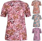 Womens New Plus Size Butterfly Print Ladies Short Sleeve Tunic T-Shirt Long Top