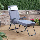 Sun Lounger - Charcoal Adjustable Frame with Luxury Cushion