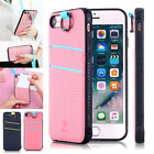 For iPhone 7/7 Plus Hybrid Card Slot Holder Lanyard Hard Case Cover W/ Strap