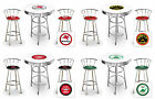 FC722 3 PIECE GAS GARAGE SHOP THEMED ROUND WHITE BAR TABLE & CHROME STOOLS SET