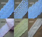 """2"""" - 4"""" wide Eyelet Cotton Blend Lace with Embroidered Trim zhb3"""