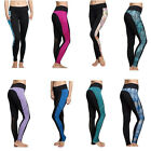 Women Mesh Splice Yoga Gym Sports Pocket Pants Workout Fitness Elastic Leggings