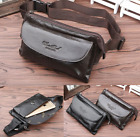 Men Waist Bag Cross Chest Pack Real Genuine cow Leather Pouch black brown 5015