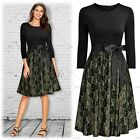 Womens 3/4 Sleeve Bow Belt Fashion Stitching Cocktail Party Floral Lace Dress