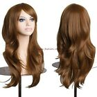 Fashion Women Long Full Hair Wigs Curly Straight Cosplay Wavy Black Brown Wig b#