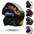 DOT Dual Visor Flip Up Full Face Modular Motorcycle Bike Motocross Helmet