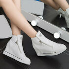 Fashion New Women Leather High Top Hidden Wedge Heel Casual Flat Sneakers Shoes