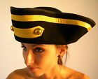 Victorian Town Crier Tricorn 3 Corner Traditional Hat Black and Gold Braid Wool