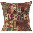 "20"" Brown Patchwork Sofa Throw Pillow Cushion Cover Couch Boho Indian Bohemian"