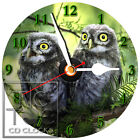 T-138 CD CLOCK- TWO OWLS-DESK OR WALL CLOCK-BUY IT NOW-FREE SHIPPING