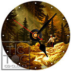 S-857 CD CLOCK-FISHERMAN ON STREAM-DESK OR WALL CLOCK-GREAT GIFT-BUY IT KNOW