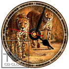 S-837-CD CLOCK TWO LEOPARDS-DESK OR WALL CLOCK
