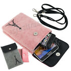 Universal Soft Dual-Pocket Style Cell Phone iPhone Shoulder Bag Case w/Lanyard