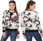 Womens Camouflage Lips Print Bomber Jacket Long Sleeve Zip Stretch Top 8-14
