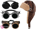 STEAMPUNK PILOT HAT AND GOGGLES 1940'S AVIATOR FANCY DRESS WARTIME COSTUME