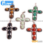 "Natural Gemstones Cross Pendant Leather Rope Necklace 18"" Feee Shipping"