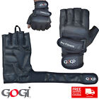 Long wrist wraps full real leather weight lifting gloves gym fitness padded 5359