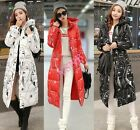 Women's winter full length slim cotton parka thick hooded fashion down coat