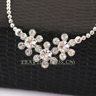 A1-P184 Fashion Rhinestone Choker Flowers Necklace Pendant Bib 18KGP Crystal