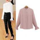 Big Large Size Womens Elegant Chiffon Blouse Ladies Ruffle Flared Sleeve Top