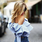 Blue Striped Off The Shoulder Women Long Sleeve Top Shirt Blouse Fashion Clothes