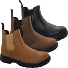 NEW MENS LEATHER SAFETY DEALER CHELSEA ANKLE BOOTS STEEL TOE CAP WORK SHOES SIZE