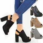 Womens Ladies Open Toe Chunky Block High Heel Buckle Slingback Party Sandal Size