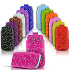 Quality Slim Diamond Bling Leather Pull Tab Flip Case Cover for Various Phones