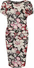 Plus Womens Midi Dress Ladies Floral Print Short Sleeve Stretch Round Neck 14-28