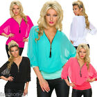 2017 Women V-neck Oversized 3/4 Sleeve T-Shirts Casual Blouse Loose Chiffon Tops