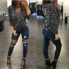 2017 Hot Women's Lace Up Camouflage Long Sleeve Casual Blouse Tops Loose T Shirt