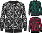 Womens Plus Floral Lace Bomber Jacket Top Ladies Long Sleeve Zip Crew Neck 14-28