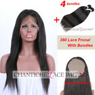 360 Lace Frontal With 4 Bundles Brazilian Straight Human Hair Straight Closures