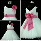 Pink White Christmas Wedding Party Bridesmaid Flower Girls Dresses SIZE 1 - 12T
