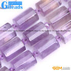 Natural Light Purple Amethyst Gemstone Column Faced Beads For Jewelry Making 15""