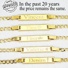 14K Gold Filled Baby ID Bracelet With Engraving 6' adjustable for new born to 12