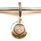 Signature Heart Clear CZ 14K Gold Dangle 925 Sterling Silver Fit Charms Bracelet