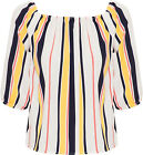 Womens Striped Off Shoulder Top Ladies Print 3/4 Sleeve Short Length 8-14