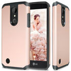 For LG K20 Plus Hybrid ShockProof Rubber Slim Case Cover +Tempered Glass Screen