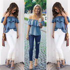 Womens Off Shoulder Shirt Sleeveless T Shirt Casual Loose Tops Blouse Size 6-14