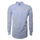 Armani Men's Blue Check Long Sleeve Shirt