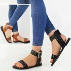 Womens Ladies Western Studded Sandals Gladiator Flat Summer Ankle Cuff Size New