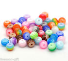 Wholesale Lots HX Mixed Stripe Resin Round Beads 6mm