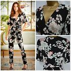 NEW M&Co JUMPSUIT BLACK PINK IVORY GREEN FLORAL PARTY STRETCH SIZE 8 - 22